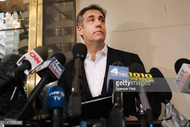 Michael Cohen the former personal attorney to President Donald Trump speaks to the media before departing his Manhattan apartment for prison on May...