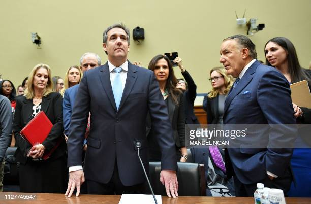 TOPSHOT Michael Cohen US President Donald Trump's former personal attorney arrives to testify before the House Oversight and Reform Committee in the...