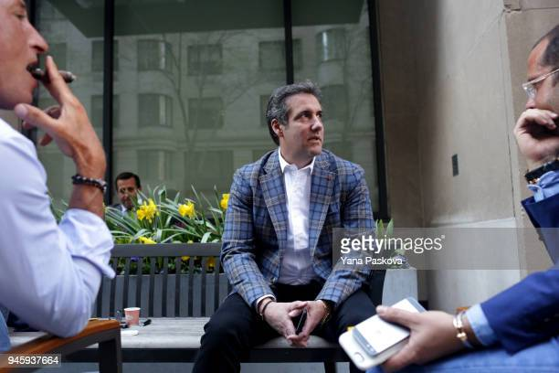 Michael Cohen US President Donald Trump's personal attorney chats with friends including Rotem Rosen near the Loews Regency hotel on Park Ave on...