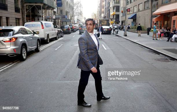 Michael Cohen US President Donald Trump's personal attorney crosses E 61st St near the Loews Regency hotel on Park Ave on April 13 2018 in New York...