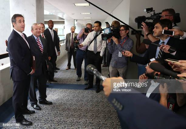 Michael Cohen US President Donald Trump's personal attorney stands with his attorney Stephen M Ryan after finding out the Senate Intelligence...