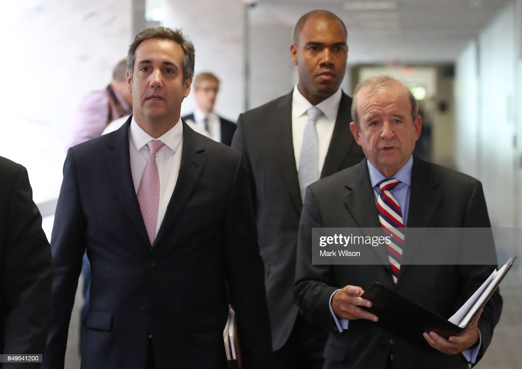 Michael Cohen (L), U.S. President Donald Trump's personal attorney, stands with his attorney Stephen M. Ryan after finding out the Senate Intelligence Committee hearing at which they were to appear was canceled, on September 19, 2017 in Washington, DC. The committee is investigating alleged Russian interference in the 2016 U.S. presidential election.