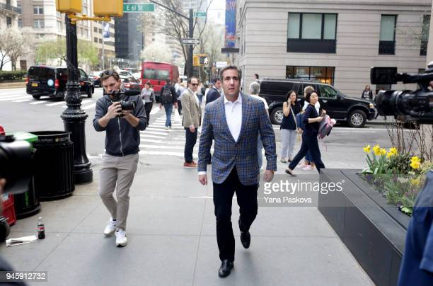 Michael Cohen US President Donald Trump's personal attorney walks to the Loews Regency hotel on Park Ave on April 13 2018 in New York City Following...