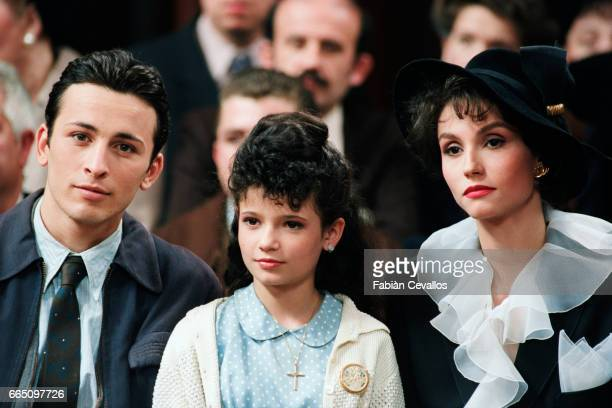 Michael Cohen young actress Salome Lelouch and Italianborn actress Alessandra Martines on the set of the film Les Miserables directed by French...