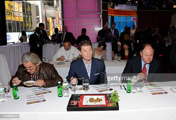 Michael Colamenco and Bobby Flay attend the Aetna Healthy Food Fight regional semifinal cookoff at ABC Studios on December 2 2011 in New York City