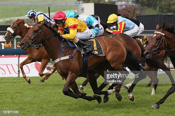 Michael Coleman rides Red Shift to win race one during Karaka Millions Day at Ellerslie Racecourse on January 29 2012 in Auckland New Zealand