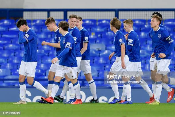 Michael Collins of Everton celebrates his goal with team mates during the FA Youth Cup match between Everton and Brighton Hove Albion at Goodison...