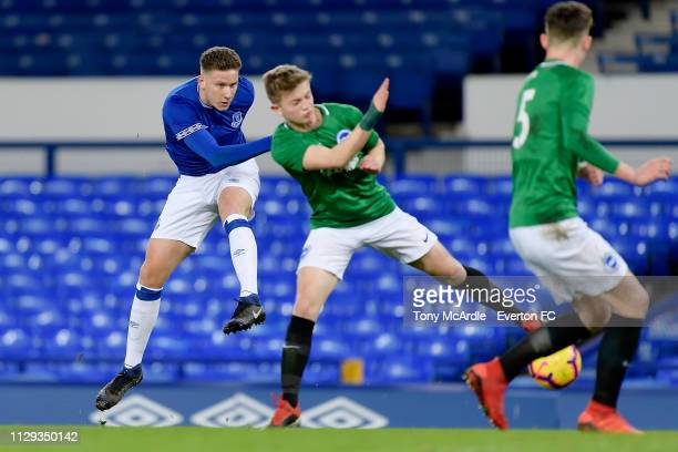 Michael Collins of Everton shoots to score during the FA Youth Cup match between Everton and Brighton Hove Albion at Goodison Park on February 12...