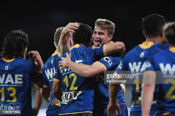 Michael Collins of Otago and his team mates celebrate their win in the round 8 Mitre 10 Cup match between Canterbury and Otago at Orangetheory...
