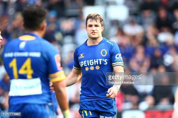 Michael Collins of Otago looks on during the round 8 Mitre 10 Cup match between Otago and Waikato at Forsyth Barr Stadium on September 29, 2019 in...