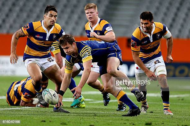 Michael Collins of Otago loses the ball in a tackle during the Mitre 10 Cup Championship Semi Final between Otago and Bay of Plenty on October 21...