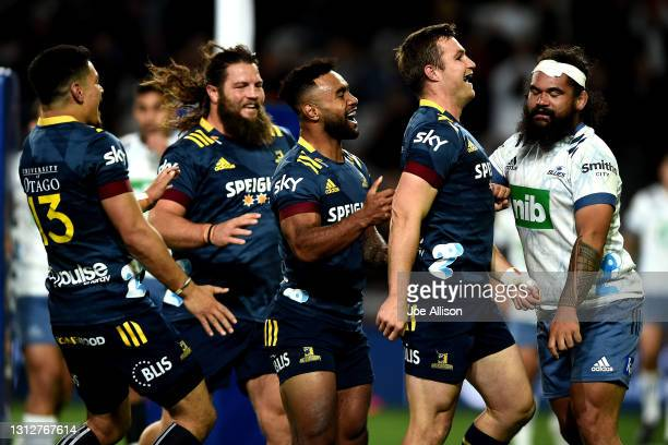 Michael Collins of the Highlanders celebrates his try during the round eight Super Rugby Aotearoa match between the Highlanders and the Blues at...