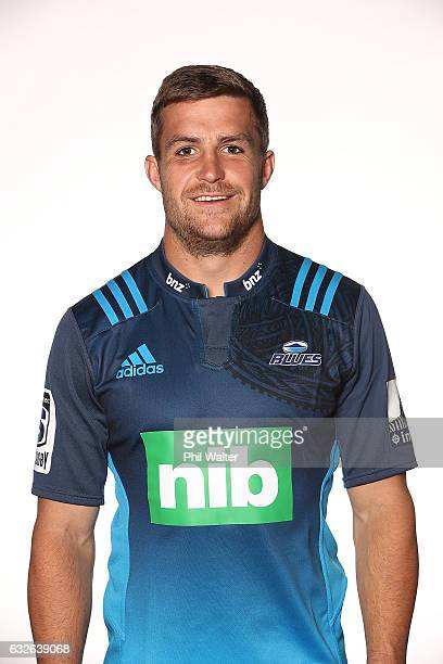 Michael Collins poses during the Auckland Blues Super Rugby headshots session at ASB Showgrounds on January 25 2017 in Auckland New Zealand