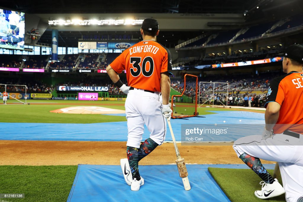 Michael Conforto #30 of the New York Mets and the National League looks on during Gatorade All-Star Workout Day ahead of the 88th MLB All-Star Game at Marlins Park on July 10, 2017 in Miami, Florida.