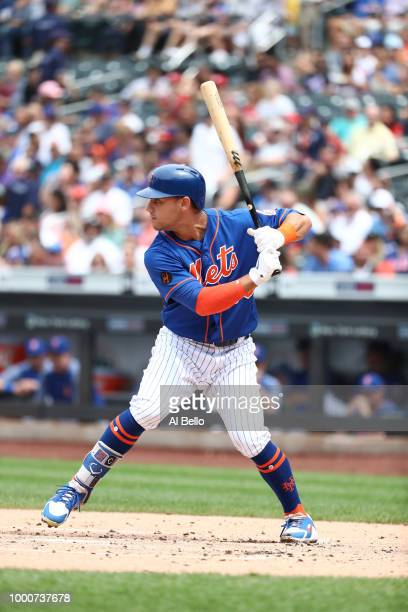 Michael Conforto of the New York Mets bats against the Washington Nationals during their game at Citi Field on July 15 2018 in New York City