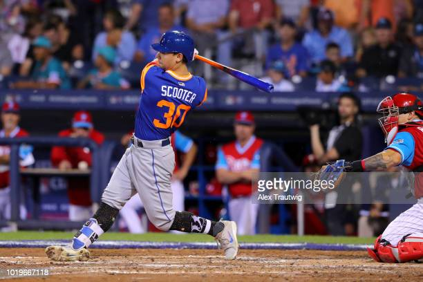 Michael Conforto of the New York Mets bats during the 2018 Little League Classic against the Philadelphia Phillies at Historic Bowman Field on Sunday...