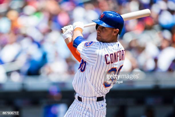 Michael Conforto of the New York Mets bats during the game against the Milwaukee Brewers at Citi Field on Thursday June 1 2017 in the Queens borough...