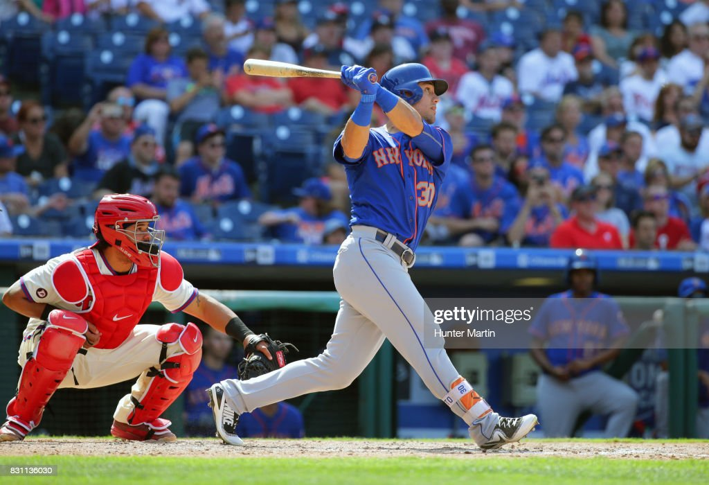 Michael Conforto #30 of the New York Mets bats in the seventh inning during a game against the Philadelphia Phillies at Citizens Bank Park on August 13, 2017 in Philadelphia, Pennsylvania. The Mets won 6-2.