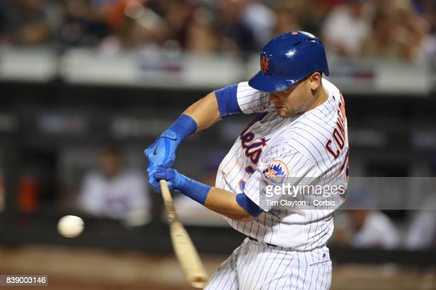 Michael Conforto of the New York Mets batting during the Arizona Diamondbacks Vs New York Mets regular season MLB game at Citi Field on August 23...