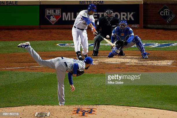 Michael Conforto of the New York Mets hits a a solo home run in the fifth inning against Danny Duffy of the Kansas City Royals during Game Four of...