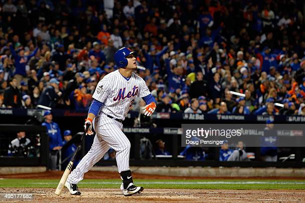 Michael Conforto of the New York Mets hits a solo home run in the third inning against the Kansas City Royals during Game Four of the 2015 World...