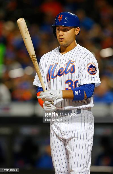 Michael Conforto of the New York Mets in action against the Miami Marlins during a game at Citi Field on April 9 2017 in New York City