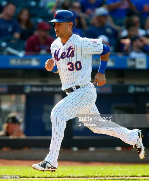 Michael Conforto of the New York Mets in action against the Miami Marlins at Citi Field on August 20 2017 in the Flushing neighborhood of the Queens...