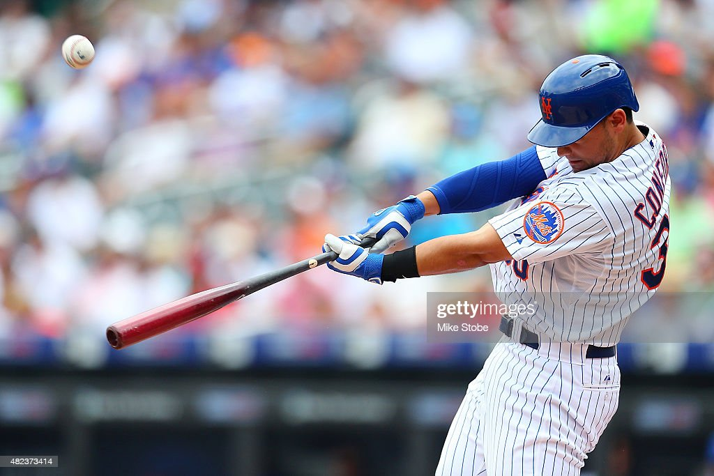 Michael Conforto #30 of the New York Mets pops out in the second inning against the San Diego Padres at Citi Field on July 30, 2015 in Flushing neighborhood of the Queens borough of New York City.