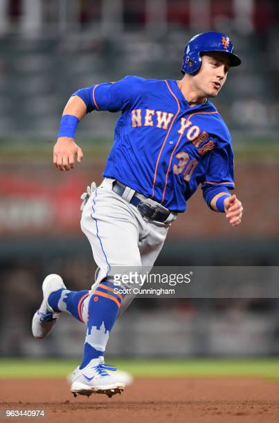 Michael Conforto of the New York Mets rounds the bases during the first inning against the Atlanta Braves at SunTrust Field on May 28 2018 in Atlanta...