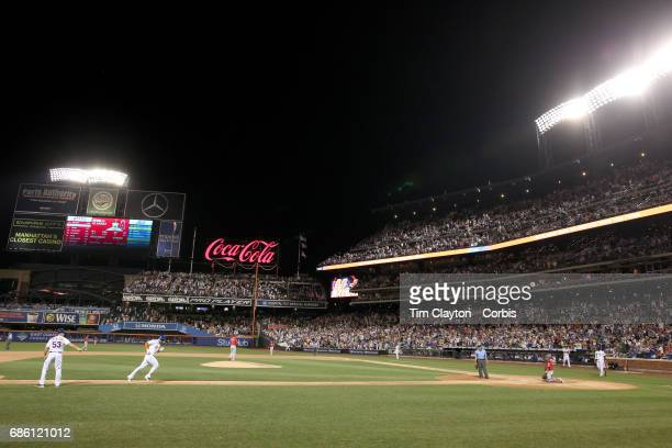 Michael Conforto of the New York Mets runs down the third base line to home plate after hitting a solo home run in the seventh inning during the Los...