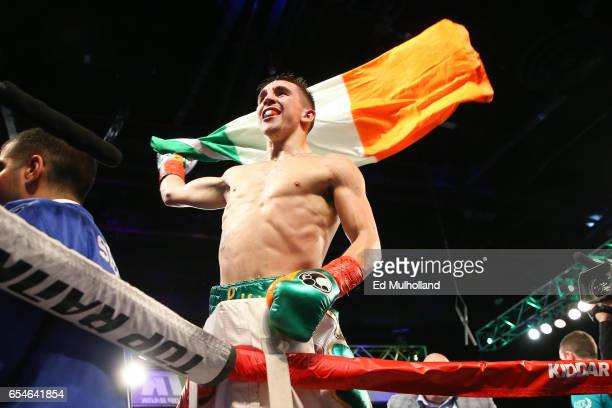 Michael Conlan celebrates his 3rd round TKO win over Tim Ibarra in their super bantamweight bout at The Theater at Madison Square Garden on March 17...