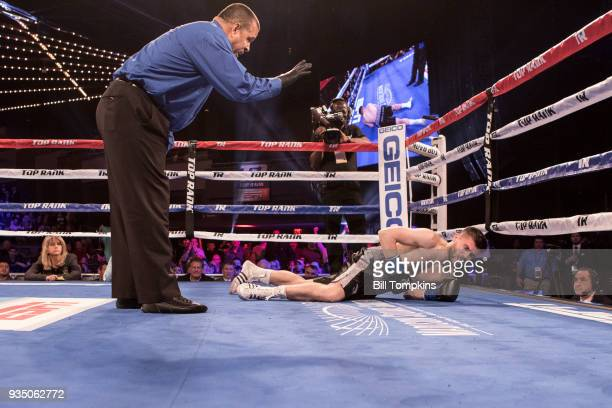 Michael Conlan defeats David Berna by Knockout in the 2nd round of their Featherweight fight at The Hulu Theatre at Madison Square Garden on March 17...