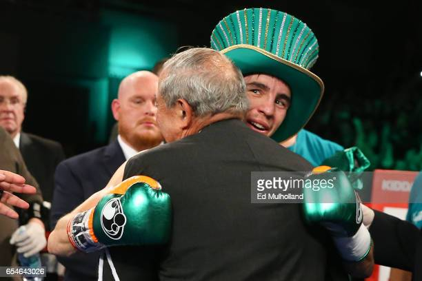 Michael Conlan hugs promoter Bob Arum after his 3rd round TKO win over Tim Ibarra at The Theater at Madison Square Garden on March 17 2017 in New...