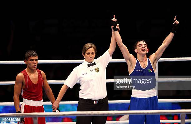 Michael Conlan of Ireland celebartes beating Murodjon Akhmadaliev of Uzbekistan in the final of the Men's Bantam Weight during the AIBA World Boxing...