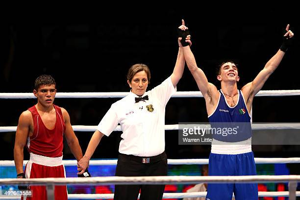 Michael Conlan of Ireland celebrates beating Murodjon Akhmadaliev of Uzbekistan in the final of the Men's Bantam Weight during the AIBA World Boxing...