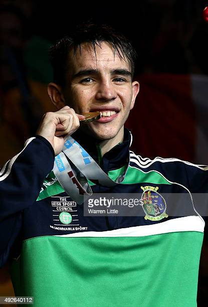Michael Conlan of Ireland cposes with his gold medal after beating Murodjon Akhmadaliev of Uzbekistan in the final of the Men's Bantam Weight during...