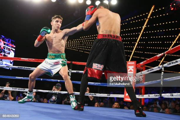 Michael Conlan throws a left jab at Tim Ibarra during their super bantamweight bout at The Theater at Madison Square Garden on March 17 2017 in New...
