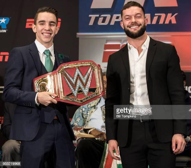 Michael Conlon and Finn Balor pose at the Final Press Conference for the Jose Ramirez vs Amir Imam Super Lightweight fight at Madison Square Garden...
