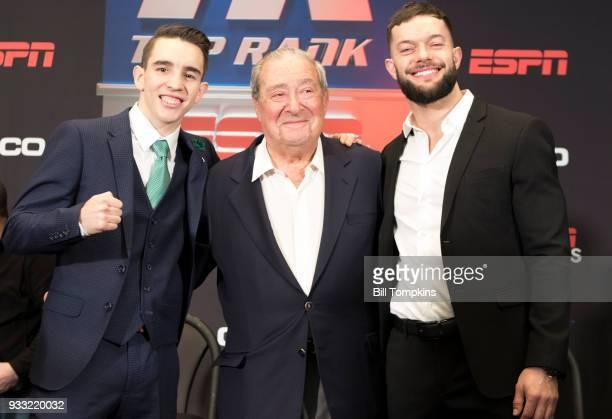 Michael Conlon Bob Arum and Finn Balor pose at the Final Press Conference for the Jose Ramirez vs Amir Imam Super Lightweight fight at Madison Square...