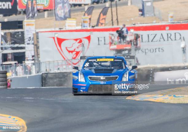 Michael Cooper Cadillac Racing maintains a comfortable lead as he emerges from the hairpin turn 7 during the World Challenge GT Race at the Verizon...