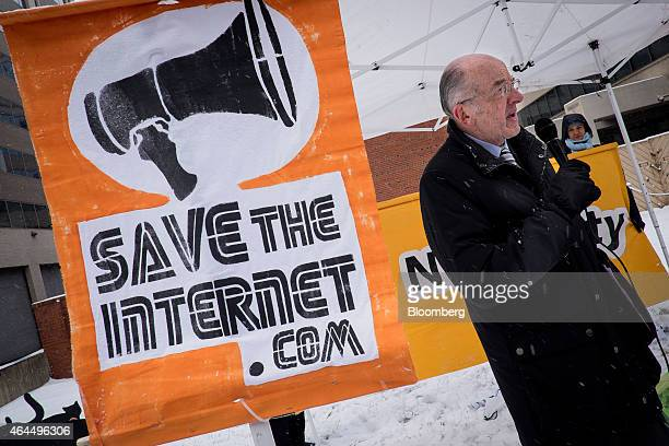 Michael Copps former commissioner of the US Federal Communications Commission speaks in favor of net neutrality during a demonstration outside of FCC...