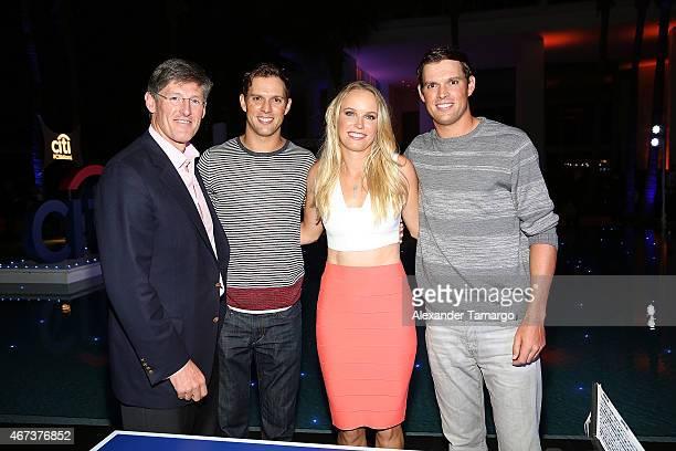LR Michael Corbat Bob Bryan Caroline Wozniacki and Mike Bryan attend the Taste Of Tennis Miami Presented By Citi at W South Beach on March 23 2015 in...