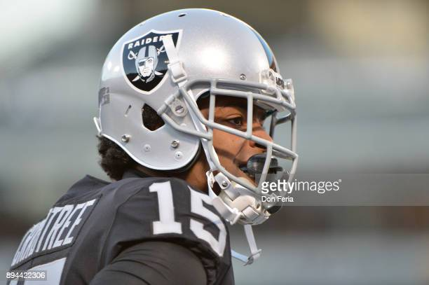 Michael Crabtree of the Oakland Raiders warms up prior to their game against the Dallas Cowboys at OaklandAlameda County Coliseum on December 17 2017...