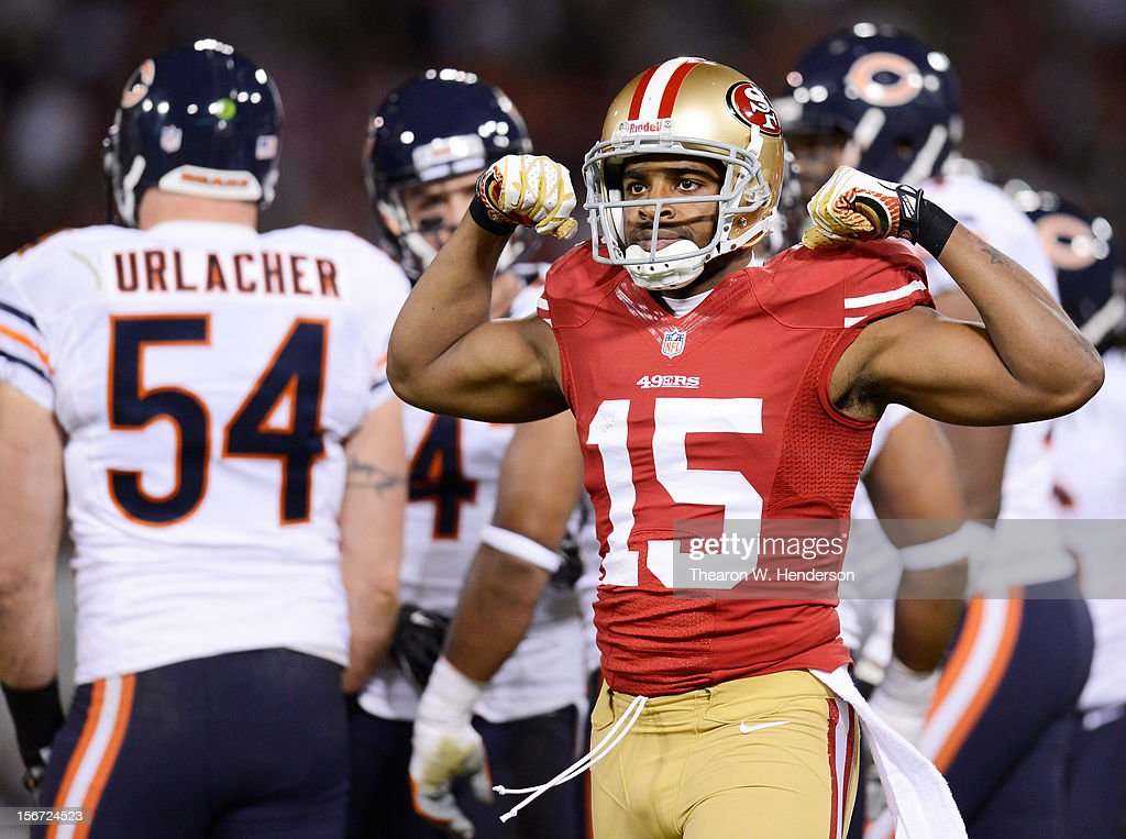 Michael Crabtree #15 of the San Francisco 49ers celebrates after a 20 yard pass reception in the second quarter of the game at Candlestick Park on November 19, 2012 in San Francisco, California.