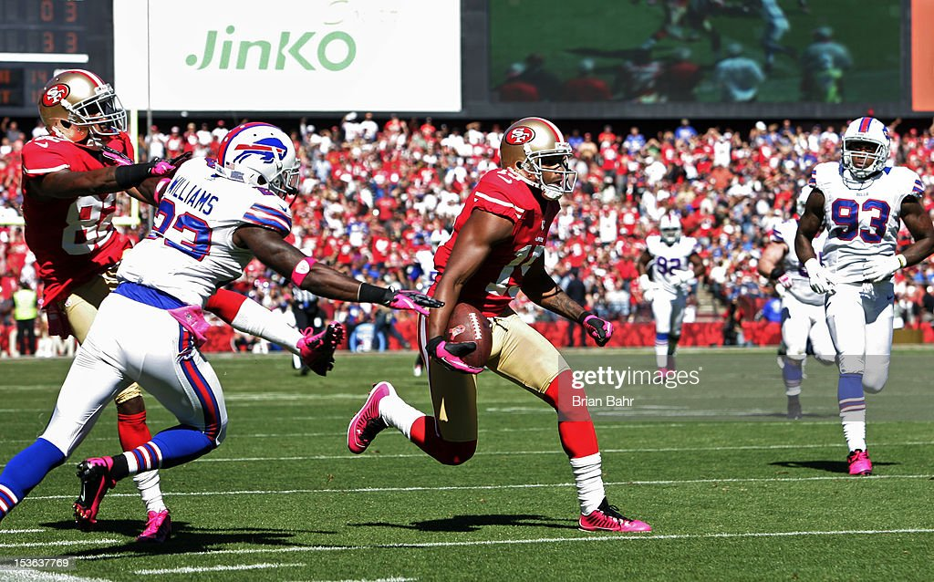 Michael Crabtree #15 of the San Francisco 49ers works his past cornerback Aaron Williams #23 of the Buffalo Bills on October 7, 2012 at Candlestick Park in San Francisco, California. The 49ers won 45-3.