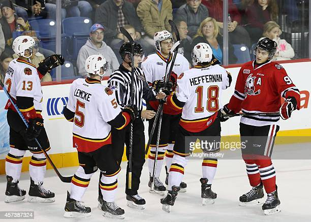 Michael Cramarossa of the Belleville Bulls celebrates a 3rd period goal in an OHL game against the Niagara Ice Dogs at the Meridian Centre on October...