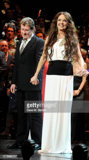 Michael Crawford and Sarah Brightman bow on stage during the 25th Anniversary performance of Andrew Lloyd Webber's The Phantom Of The Opera presented...