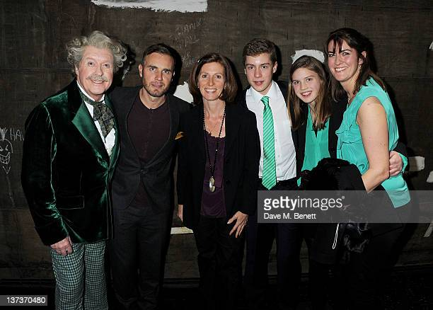 Michael Crawford Gary Barlow Emma Crawford Lucy Crawford and her children celebrate Michael's 70th birthday onstage following a performance of 'The...