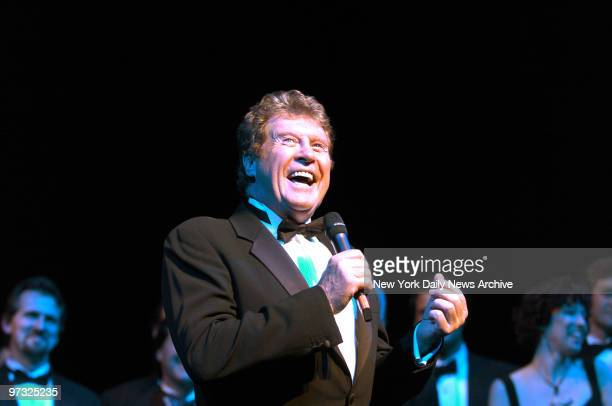 Michael Crawford speaks to the audience at the Majestic Theatre following the 7486th performance of the musical The Phantom of the Opera making it...