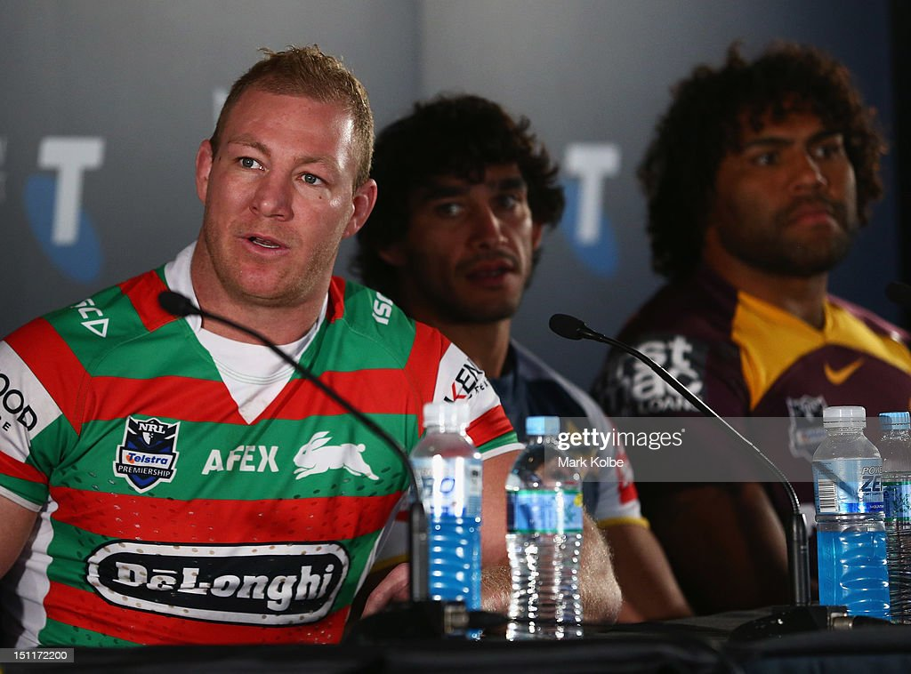 Michael Croker of the Rabbitohs speaks to the media during the 2012 NRL finals series launch at Allianz Stadium on September 3, 2012 in Sydney, Australia.